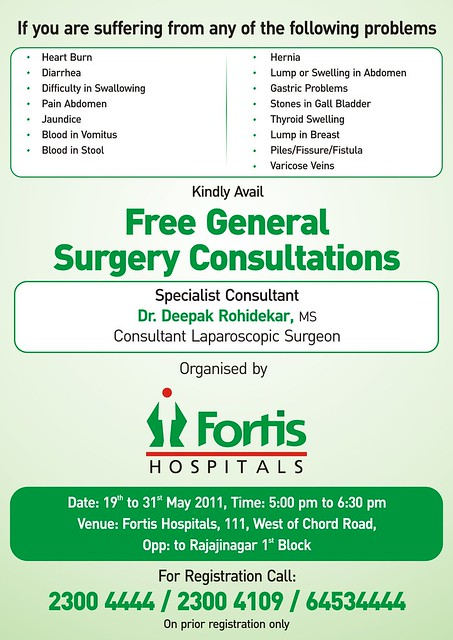 General Surgery Camp Poster - Nagarbhavi - May 19 Eng