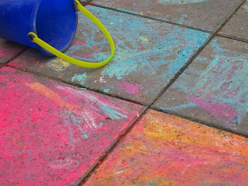 a spill of sidewalk chalk