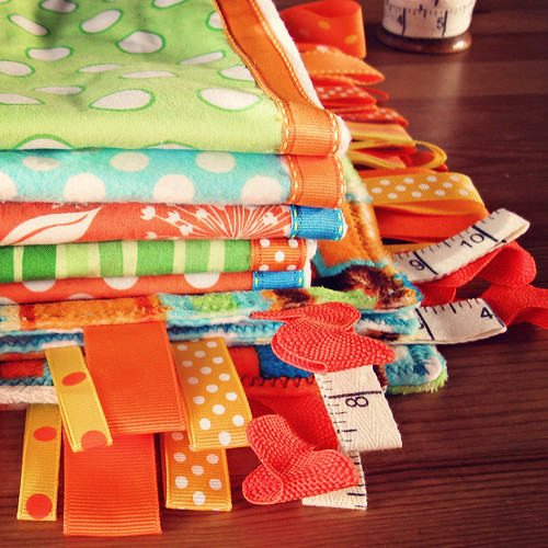 Tabbed blanket and burp cloths by Patty the Snug Bug