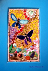Agate butterfly mosaic grouted! (Heart Windows Art) Tags: door blue red art glass agate yellow mirror beads rocks purple cabinet mosaic butterflies stained tiles ladybug bible recycle secondhand gems metamorphosis verse reuse grout thriftshop thrifted inspiks|inspirationalpictures mindofchrist