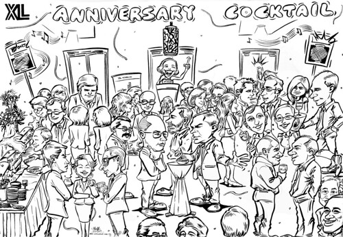 Caricature live sketching for XL Insurance - cocktail atmostphere final cartoon artwork