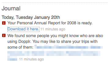 Look out for your Dopplr Personal Annual Report