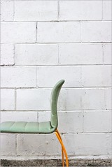 have a seat (Furms) Tags: urban orange green wall digital canon eos chair alley cinderblock furms feelfreetoleavefeedbackideasopinionssuggestions