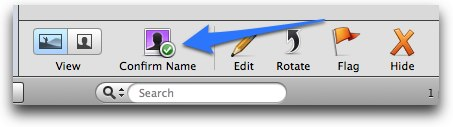 Confirm Name button (iPhoto)