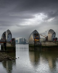The Wharf Gateway (Father of Spider Cat) Tags: rain thames river environment barrier hdr 113ev