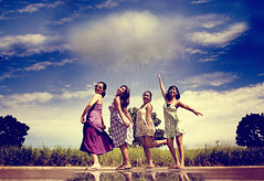 there's always a raincloud over my head (anne()marie) Tags: girls friends reflection water grass rain photoshop anne drops perfect day bac