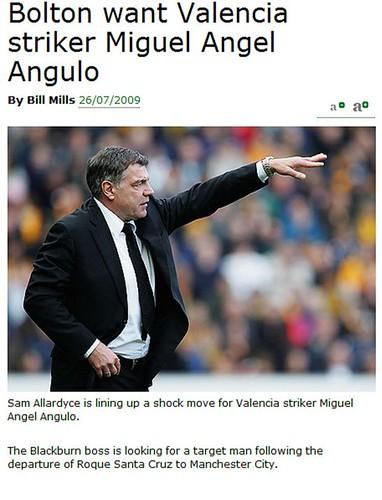 The Sunday Mirror claim Blackburns Big Sam returns to Bolton