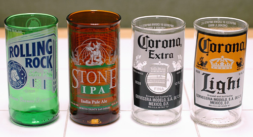 Variety Set of 4 Recycled Beer Bottle Glasses ($24.00)