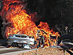 f430 BB-Q (dez&john3313) Tags: car fire funny flames bad super bbq ferrari oops expensive firedepartment f430
