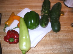 cucumbers, peppers
