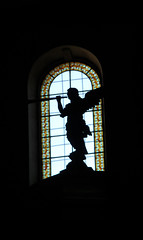 Angel in Brianon (aquarius6048) Tags: france church angel chiesa angelo brianon statua eglise controluce silohuette hautealpes aquarius6048 anciennecollegialenotredame