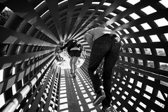 Geometry + Hinders (DaveFayram) Tags: bw ass playground ian geometry tube montereybayaquarium christine butts frombehind lightplay dennisthemenacepark oshiri