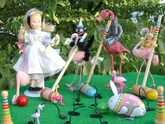 Its a Beautiful Day for Croquet (raining rita) Tags: rabbit cat flamingo balls 1981 dots posts croquet tinman aliceinwonderland wickets beautifulday horsman judibird
