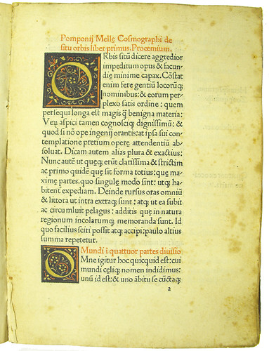 Coloured woodcut initials in Mela, Pomponius: Cosmographia