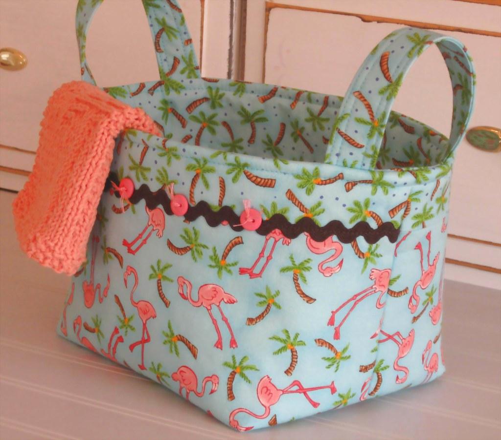 FLAMINGOS- Fabric Basket- Dishcloth- Washcloth Set