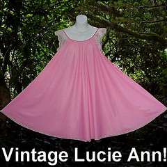 Fun and Flirty LUCIE ANN Babydoll Gown PINK Nylon Vintage Nightgown with Lace and Tulips! :D (Rock Candy Roses) Tags: pink lace sissy beverlyhills satin nylon nightgown vintagelingerie lucieann vintagenightgown vintagenightgowns clairesandra