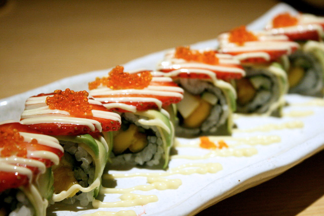 Tutti Frutti Roll S$12 - mango, honeydew, cucumber, strawberry and avocado