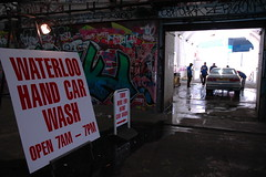 Waterloo Hand Car Wash (jaybergesen) Tags: street uk streetart green london art st graffiti paint tag sonic spray carwash waterloo gb lon cans leak tagging 2009 lambeth se1 slimer lowermarsh