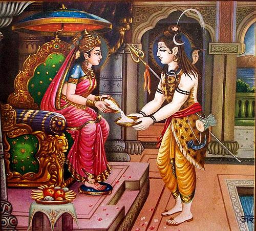 Annapurna alimenta a Shiva