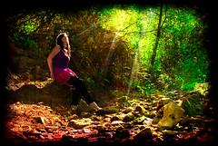 Ray of light (Ellie Ellis) Tags: trees selfportrait tree forest woods stream sunbeam sunray textureforlaye