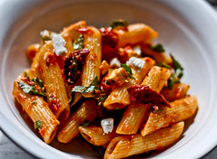 oven roasted tomato sauce, penne, basil, ricot...