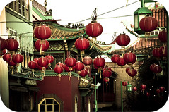 It's 6pm in Chinatown (CarolynBrandt) Tags: red green vintage losangeles alley chinatown lantern nikond90