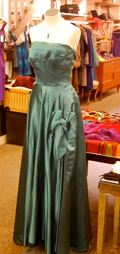 1940's Teal Satin Gown