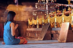 Wat Saket (Temple of the Golden Mount) (2bsimple) Tags: travel people thailand temple golden asia nirvana buddha prayer culture lifestyle mount thai wat enlightened younglady watsaket spiritualpractice templeofthegoldenmount earthasia meditativelife