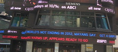 """HEADLINE:  """"World's not ending in 2012.  Mayans say get a grip!"""" (SunBreaker ) Tags: new york city square headline abc times armageddon 2012 abcnews mayans"""