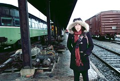 And It's My Favorite Scene (aReasontoHope) Tags: road old winter portrait woman cold brick girl face station minnesota standing scarf town junk friend serious antique parts jenny tracks trains visit crap depot hood hastings underneath duluth loitering thirds dotson