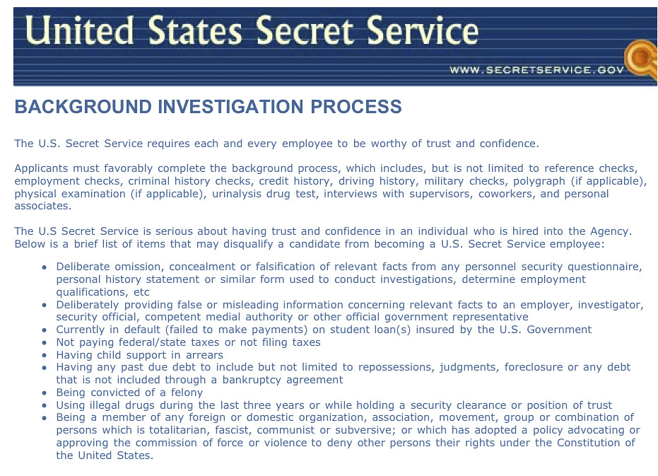 United States Secret Service: Background Investigation Process 20-32