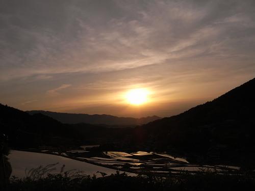 飛鳥の夕日(細川の棚田)-04