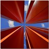 Nose up in red and blue (Nespyxel) Tags: red sky lines architecture modern escape pov perspective run lookingup pointofview cielo forms rosso outlet architettura moderno forme stefano fuga prospettiva geometrie centrocommerciale linee geometries noseup ponzanoromano colorphotoaward nespyxel stefanoscarselli