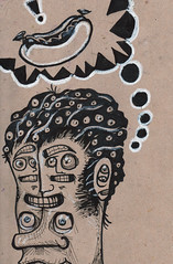 Hot Dog! (Lionel Ash) Tags: abstract hotdog crazy faces random creepy linedrawing robertcrumb thoughtbubble frankfurter