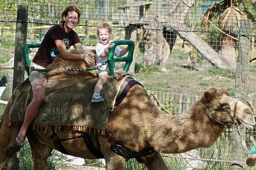Marla and Nina riding camel