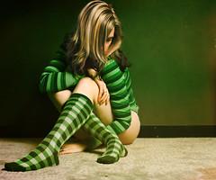 Green (CrzysChick) Tags: portrait selfportrait color colour green me colors socks self myself colours stripes secret sp stripey friday halfnekkid striped kneesocks hnf trp futab