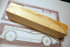 2009 Pinewood Derby Car #1 (Step 2, tracing the sketch on the pine block) (cdubya1971) Tags: wood ohio car race design boyscouts 2009 derby pinewood cubscouts bsa pinewoodderby csca gravitycar pinecar pinewoodderbycar pinewoodderbycardesign