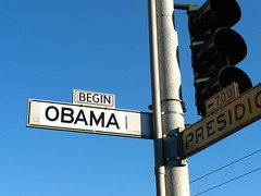 Begin Obama (Dawn Endico) Tags: sanfrancisco california sign event inauguration upcoming:event=1268657 inaugurationday2009 obamastreetsign