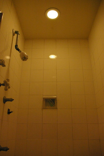 Shower, master bath, with new light fixture