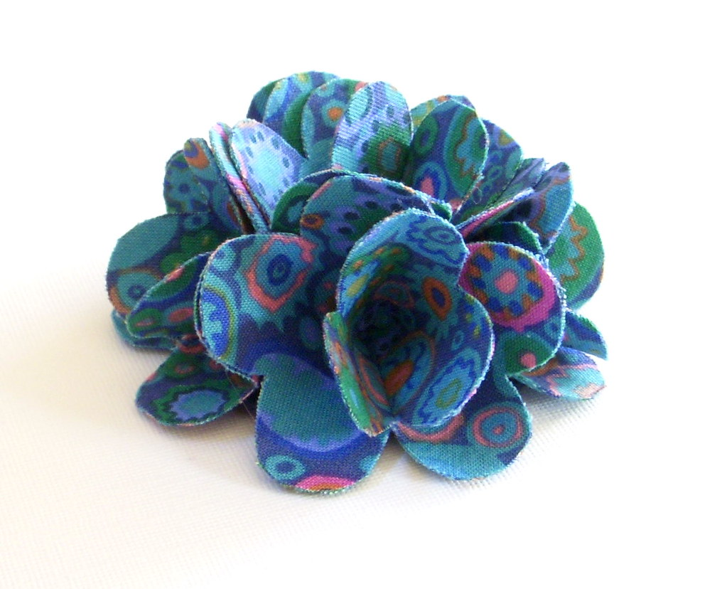 Fabric Flower - Paperweight - Kaffe Fassett Fabric Flower Hair Clip/Pin or Brooch