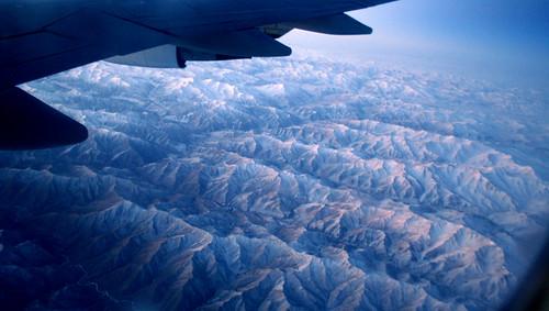 Flying over the Himalayas at sunrise. Very impressive, beautiful, breathtaking.