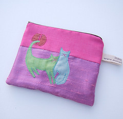Cats Purse#2 (Julia Laing) Tags: pink cats sunshine handmade sewing crafts silk purse pouch kitties etsy february applique 2009 available materialised