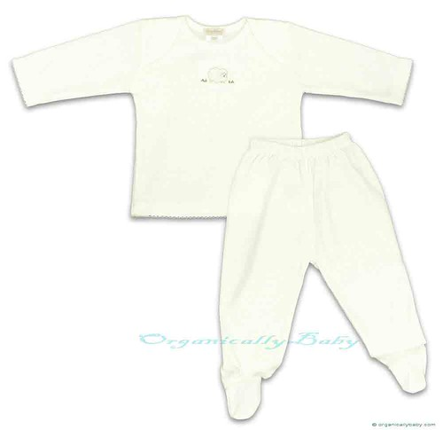 Organic Pima Cotton Long Sleeve Baby Top Footed Pants Set Sheep Kissy Kissy