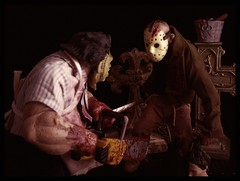 Mezco Cinema of Fear - Stylized Jason vs Leatherface 01 (Ed Speir IV) Tags: jason movie toy actionfigure leatherface figure horror fridaythe13th texaschainsawmassacre mezco cinemaoffear