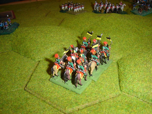 French hussars successful charge against blown English heavy dragoons