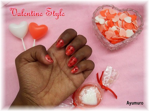 cute nail designs for valentines day. Valentine day style nail art polish. cute and shiny red heart.