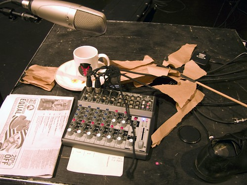 Sound effects setup for live radio show.