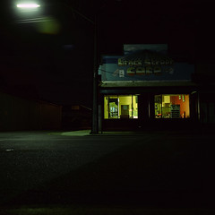 Brock Street Cafe (Tony Kearney) Tags: 6x6 night mediumformat cafe streetlight slidefilm fullmoon 55mm portadelaide brockstreet mamiyatlr woolstores 50secondexposure