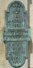 Plaque for man killed in WWI - Adolph Mignard (Monceau) Tags: plaque soldier wwi verdigris mortpourlafrance