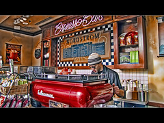 Happy Monday Blues Caffè Latte! (David Gn Photography) Tags: coffee oregon photoshop portland downtown nordstrom latte barista espressobar interestingness161 topazadjust happymondayblues canonpowershotsx1is baristamachine explore20jul09